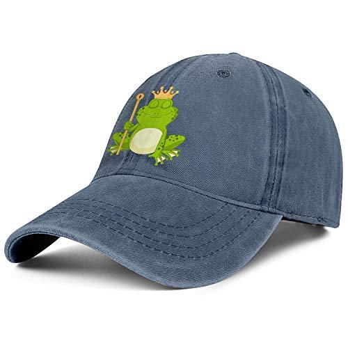 jawass Prince Frog Wearing Crown Denim Flat Caps Women Men One Size Snapback Hat