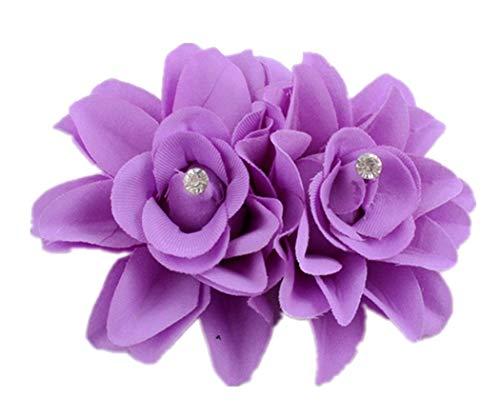 Plus Nao(プラスナオ) ヘアクリップ ヘアピン ヘアアクセサリー ヘッドドレス コサージュ フラワーモチーフ お花 髪飾り 髪留め レディース - ライトパープル