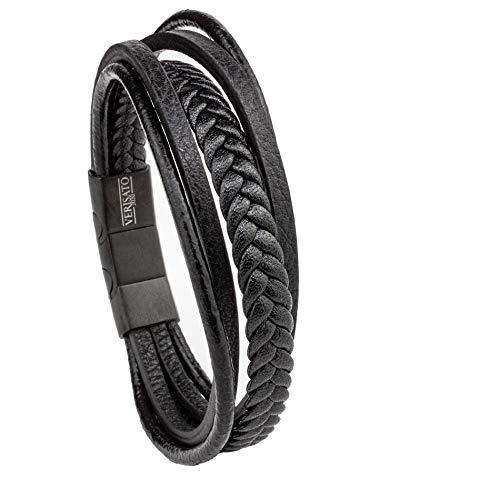 VERISATO Premium Herren und Damen Leder Armband Zeus 19 cm Echtleder Schwarz Edelstahl für Männer breit und einstellbar inklusive Geschenk-Box