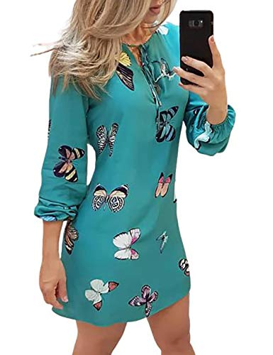 Ninimour Women Fashion Butterfly Print Tie Front Long Sleeve Dress M Blue