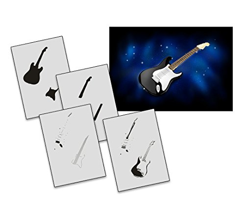 UMR-Design AS-266 guitar Airbrushschablone Step by Step Grösse M