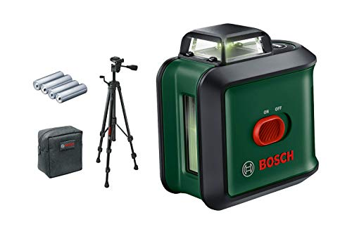Bosch Kreuzlinienlaser UniversalLevel 360 (Stativ, grüner Laser, Arbeitsbereich: bis zu 24 m, Genauigkeit: ± 0,4 mm/m, selbstnivellierend: bis ± 4°, 4x AA-Batterien, im Karton)
