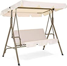 Best Choice Products 2-Person Outdoor Large Convertible Canopy Swing Glider Lounge Chair w/Removable Cushions- Beige