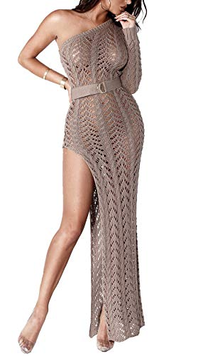 Kearia Women Sexy One Off Shoulder Dress Knitting Hollow Out High Split Beach Party Maxi Dresses Khaki Small
