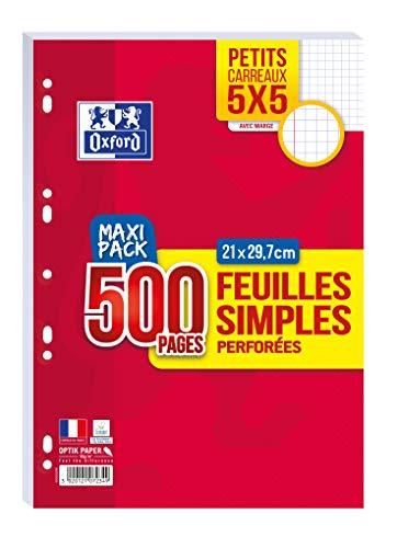 OXFORD Lot de 500 Pages Feuilles Simples Perforées A4 (21 x 29, 7cm) 90g Petits Carreaux 5x5mm - Maxi Pack