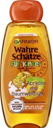 Mildes Haarshampoo/Shampoo WAHRE SCHÄTZE - FÜR KINDER (Aprikose + Baumwollblüte / 300 ml) KEIN BRENNEN UND ZIEPEN