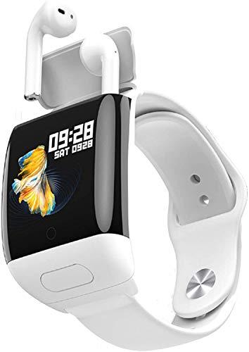 JIAJBG Reloj Inteligente de la Moda, con el Auricular Inalámbrico Bluetooth, 2-En-1 Deportes Reloj Elegante, Bluetooth Llamada, Monitor de Presión Arterial Del Ritmo Cardíaco el uso