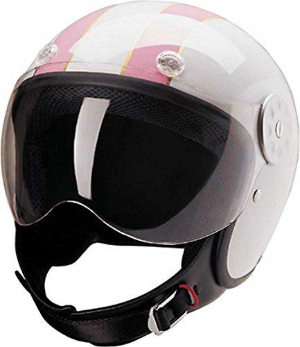 HCI Open Face Fiberglass Motorcycle Helmet - White w/Pink Stripes 15-620 (Med)