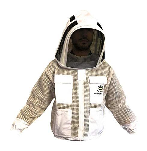 FVJ Unisex Bienenschutz 3 Schichten Ultra belüftet Sicherheit Schutz weiß Imker Jacke Bienenanzug Zaunschleier