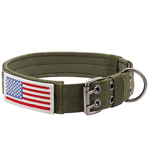 "SALFSE Military Dog Collar Adjustable 1.5"" Width Nylon Tactical Dog Collar Working K9 Collar with Metal D Ring & Buckle"