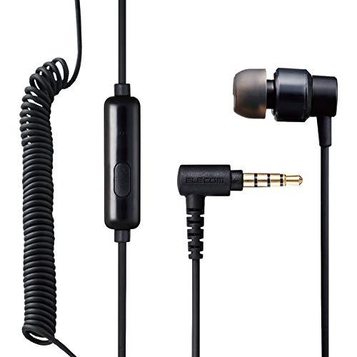 エレコム モノラルイヤホン カナル型 マイク付 Fast Music φ9.2mm カールケーブル ブラック EHP-CCS100CMMBK 4極ミニプラグ