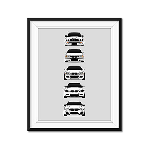 BMW M3 Generations Inspired Poster Print Wall Art of the History and Evolution of the M3 (BMW Car Models: E30, E36, E46, E92, F80)