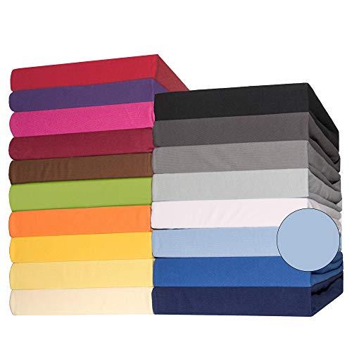 CelinaTex Lucina Spannbettlaken 180x200-200x200 cm Aqua blau Baumwolle Spannbetttuch Jersey Bettlaken