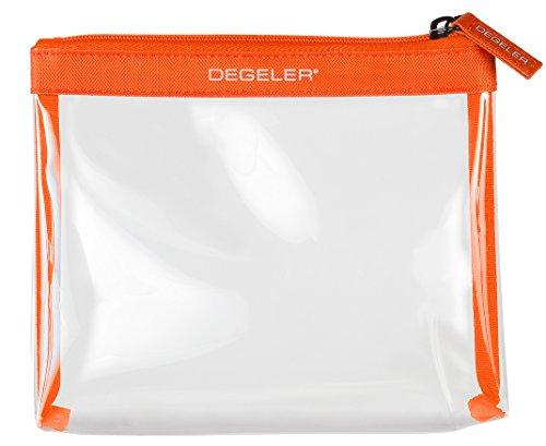 Beauty case trasparente | adatto per trasporto liquidi in Bagaglio a mano | degeler trasparente borsa per Viaggio da Aereo, cosmetici borsa richiudibile con zip - arancione
