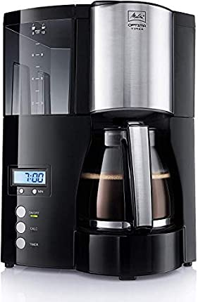 Melitta Cafetera de filtro con jarra de vidrio, Función temporizador y conservación de temperatura, Optima Timer, Negro, 100801