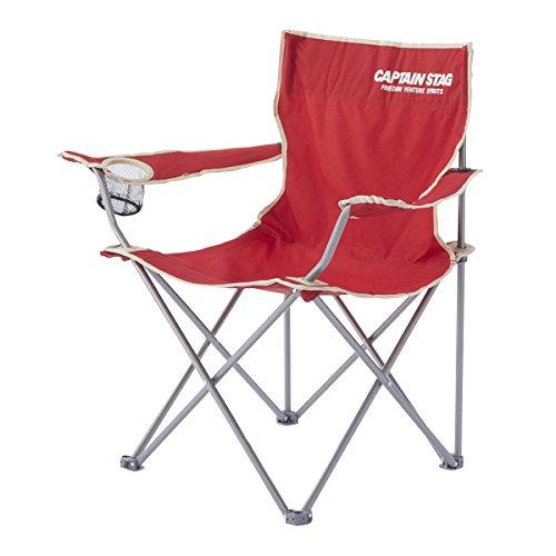 キャプテンスタッグ(CAPTAIN STAG) アウトドアチェア パレットラウンジチェア type2 レッド M-3914 ドリンクホルダー付 折りたたみ椅子 キャンプ用品