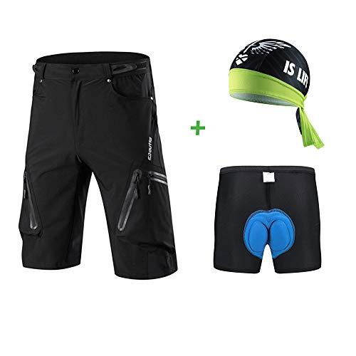 Capplue MTB Fahrradhose Satz: MTB Radhose kurz Atmungsaktive mit Reißverschluss und 3D Coolmax gepolsterte Fahrrad unterwäsche radunterhose und Radsport Bandana XL