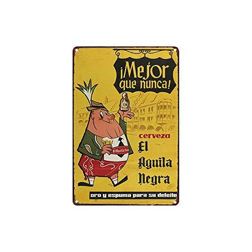 Hunnry Cerveza El Aguila Negra Poster Póster De Pared Metal Vintage Placa Cartel Decorativas Estaño Signo Vendimia Plaque por Bar Café Hogar Restaurante Dormitorio