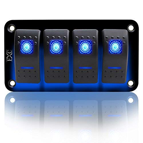 FXC Rocker Switch Aluminum Panel 4 Gang Toggle Switches Dash 5 Pin ON/Off 2 LED Backlit for Boat Car Marine Blue