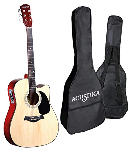 Guitarra electroacústica ACUSTIKA F315E - Guitarra electroacústica recortada de 41 (105x40x10) cm en madera - 6 cuerdas de acero, color natural.