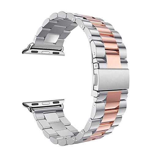 Banda para Apple iWatch 42 mm, Rosa Schleife Apple Watch banda de 42 Acero Inoxidable Metal…