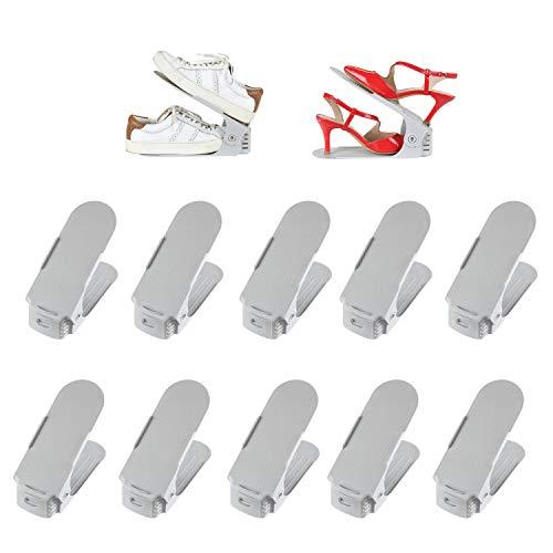 Deuline 10 x Verstellbarer Schuhregal Schuhstapler schuhaufbewahrung Schuhorganizer Schuhhalter Farbe: Grau