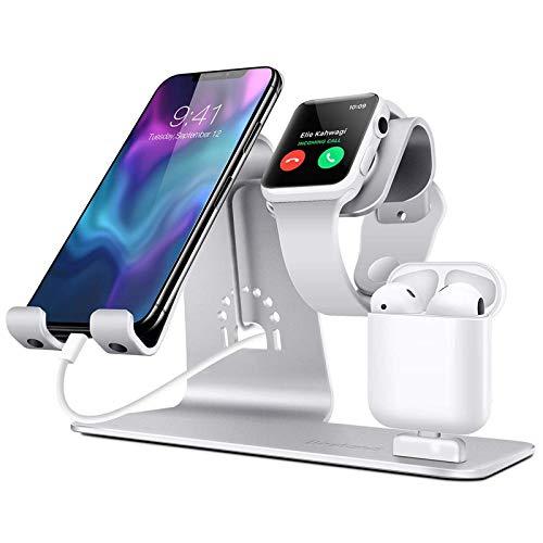 Base de carga del soporte del cargador inalámbrico 3 en 1, adecuada para el soporte de carga del soporte de carga de aleación de aluminio del cargador de iPhone Airpods de Apple Watch