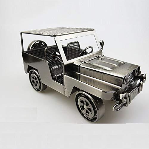 ZFF Modelo de coche de hierro vintage Hecho a mano Modelo de coche clásico Manualidades retro (Color : Gray)