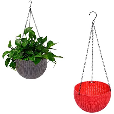 Antier (Brown and Red) 2 pcs Round Plastic Resin Chain Basket Hanging Planter Hanging Flowers and Plants,Growers