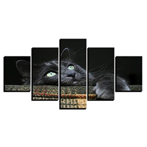 Afbeelding Op Doek 5 Stuk Canvas Schilderij Home Decor Hd Prints Dieren Foto'S 5 Stuks Zachte Knuffelige Grijze Zwarte Kat Poster Voor Kinderkamer Wall Art,Without Frame