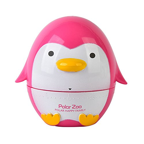VNEIRW Küchentimer, Eieruhren, Cartoon-Pinguin Zeitmesser Küche Kurzzeitmesser, Alarm Sound Countdown Timer Home Backen Kochen Steaming Manual Timer (Rosa)