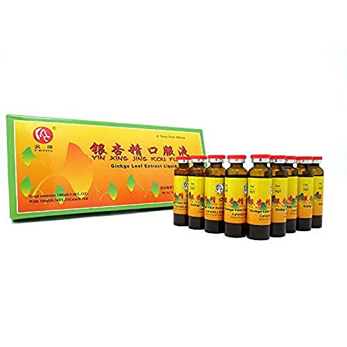 GinSen 3 Boxes Ginkgo Biloba Leaf Extract High Strength Liquid (30 x10ml) Supports Blood Circulation to Brain, Improves Stamina & Memory, Calms Mind, Helps Stress and Anxiety, Natural Chinese Remedy
