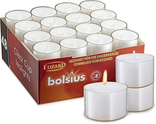 EDZARD 48 Stück Bolsius Teelichtkerzen Teelichter, weiß, transparente Hülle, Brenndauer ca. 8 h, ø 39 mm, ideal für die Dauerkerze Cornelius