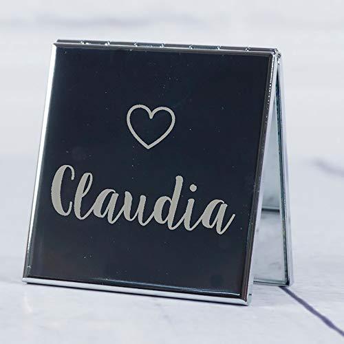 Regalo personalizado para mujeres: espejo para el bolso grabado con su nombre