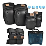 BenKen 6 in 1 Protective Gear Set Skateboard Elbow Pads Knee Pads with Wrist Guards for Kids Teenage Suit for Skateboarding Rollerblading Roller Skating Cycling Bike BMX Bicycle Scootering (Black, Small)