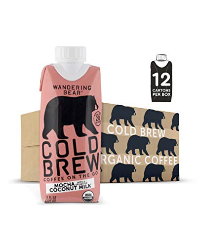 Wandering Bear Extra Strong Organic Cold Brew Coffee On-the-Go, Mocha + Splash of Coconut Milk, 11 fl oz, 12 pack - Smooth, Organic, Unsweetened, Shelf-Stable, and Ready to Drink