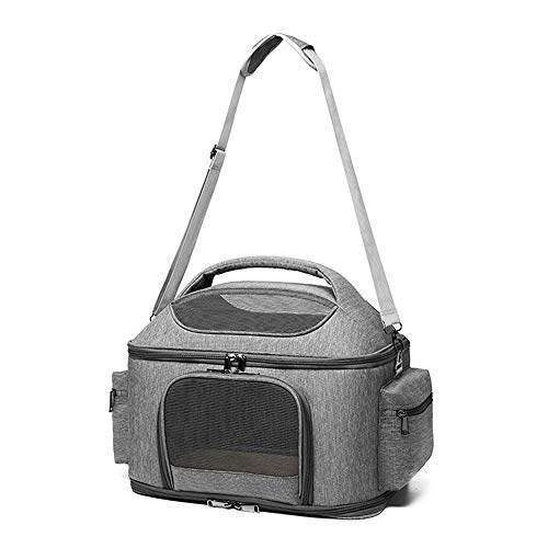 Zek Portable Pet Backpack, One-Shoulder Messenger Cute Pet School Bag, Foldable, Airy, Suitable For Hiking/Traveling/Outdoor, Linen, Light Gray