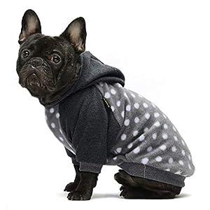Fitwarm Polka Dot Pet Clothes Dog Hoodie Sweatshirts Pullover Cat Jackets Fleece Grey XS