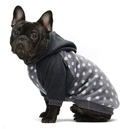 Fitwarm Polka Dot Pet Clothes Dog Hoodie Sweatshirts Pullover Cat Jackets Fleece Grey Large