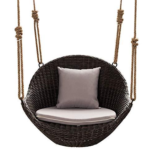 Camping Hängematte, Schaukelstuhl Hängesessel Home Balkon Single Hanging Basket Chair Indoor Schaukelstuhl (Farbe: Schwarz, Größe: 90x65x65cm)
