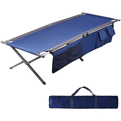 PORTAL 83' XL Heavy Duty Folding Portable Camping Cot, Pack-Away Outdoor Fold Up Bed Blue