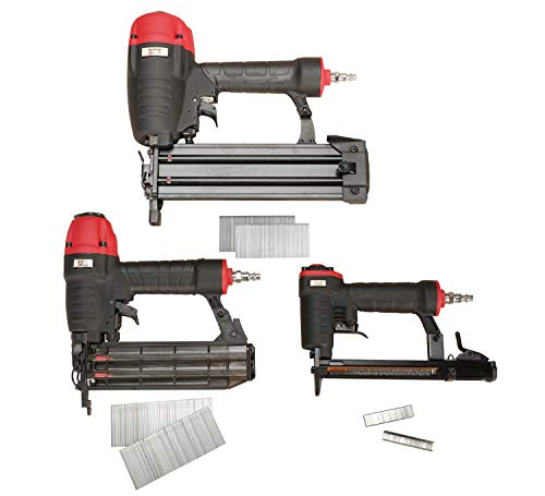 3PLUS HCBTF3SP Pneumatic Nail Gun Combo Kit with Finish Nailer, Brad Nailer & Fine Wire Stapler, 3-Piece Finish and Trim Kit. Buy it now for 89.88
