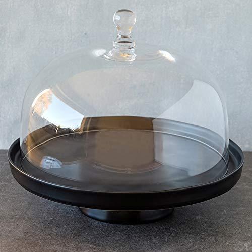 Home of Cake Tortenplatte mit Fuß Linie Puro in Schwarz Matt mit Glashaube, Ø 32 cm