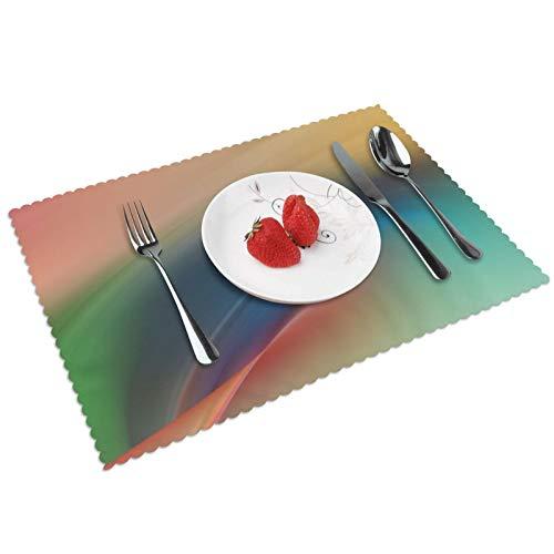Juego de 4 manteles individuales de acuarela, con aislamiento térmico, reutilizables, lavables, para mesa de comedor (45,7 x 30,5 cm)