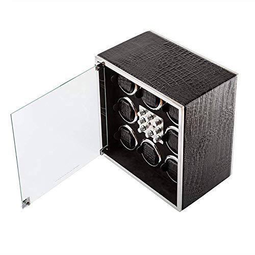 SLM-max Bobinador automático de reloj, enrollador de reloj, puede acomodar 8 relojes, motor anti-magnético ultra silencioso, almohada de mesa suave y flexible, motor importado, LED incorporado
