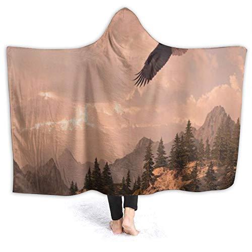 SUGARHE Tragbare Hoodie Decke,Natur Rocky Mountains und Wald mit einem...