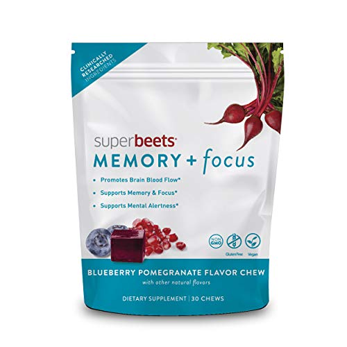 HumanN SuperBeets Memory + Focus Chews - Helps Support Brain Health & Blood Flow - Super Beets Nootropic Supplement with Resveratrol & Beet Root Powder, Blueberry Pomegranate Flavor, 30 Count
