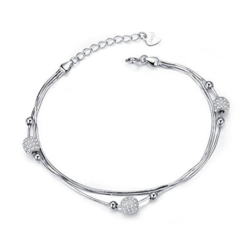 J.Vénus Damen Schmuck, 925 Sterling Silver Bling Damen Armband, handgefertigt, einstellbar, stilvoll und schön, Schmuck mit Etui (19.50)