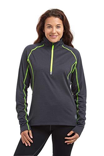 time to run Damen Langarm Thermisches und Leichtgewichtiges Lauf- oder Fitnessoberteil Funktionsshirt mit Reißverschluss L Holzkohle Gray