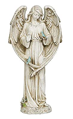 "Joseph's Studio by Roman - Angel with Two Birds Statue, 20"" H, Garden Collection, Resin and Stone, Decorative, Religious Gift, Home Outdoor and Indoor Decor, Durable, Long Lasting"